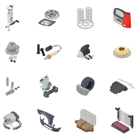 Car part icons set. Isometric set of 16 car part vector icons for web isolated on white background