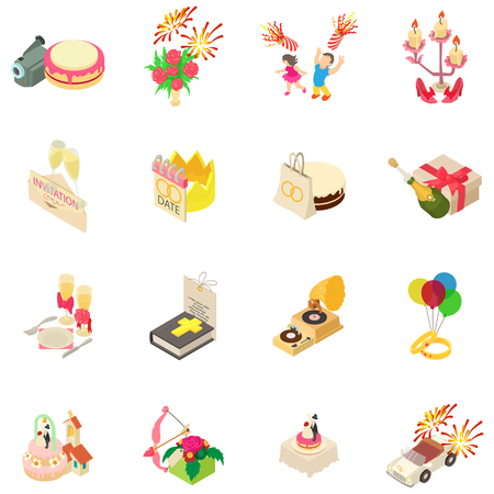 Wedding icons set, isometric style