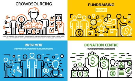 Crowdfunding idea banner set, outline style