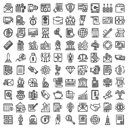 Accountant icons set. Outline set of accountant vector icons for web design isolated on white background Illustration