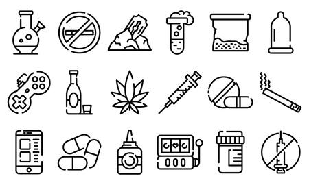 Icone di dipendenza impostate. Delineare l'insieme delle icone vettoriali di dipendenza per il web design isolato su sfondo bianco Vettoriali