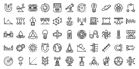 Physics icons set. Outline set of physics vector icons for web design isolated on white background Illustration