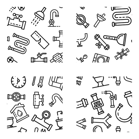 Plumbing pattern set, outline style 向量圖像