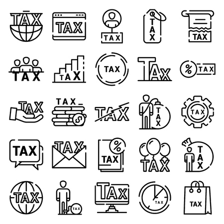 Tax icons set. Outline set of tax vector icons for web design isolated on white background