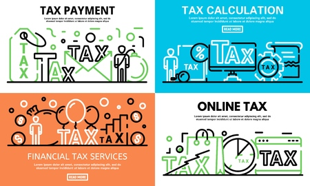 Online tax banner set, outline style Illustration