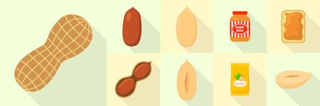 Peanut icons set, flat style Illustration