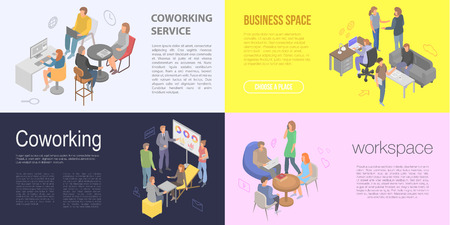 Coworking banner set, isometric style