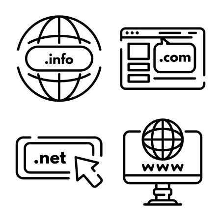 Domain icons set. Outline set of domain vector icons for web design isolated on white background Ilustração Vetorial