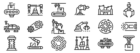 Assembly line icons set, outline style Vectores