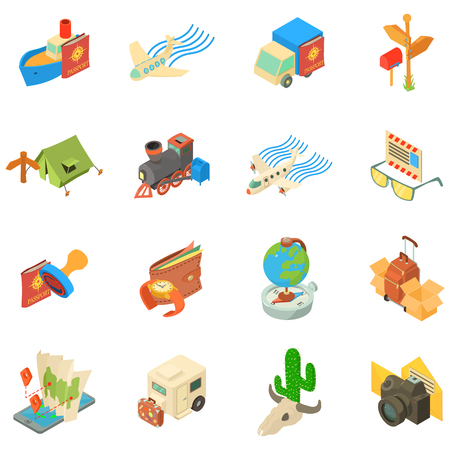 Journey icons set. Isometric set of journey vector icons for web isolated on white background