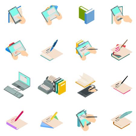 Novelist icons set. Isometric set of novelist vector icons for web isolated on white background