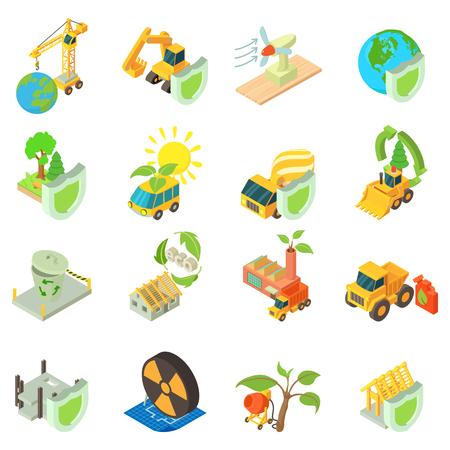 Eco construction icons set, isometric style