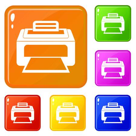 Modern laser printer icons set vector color