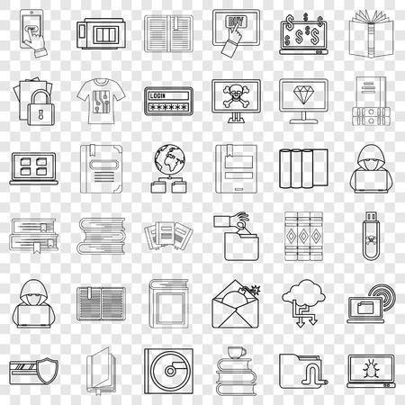 Paper icons set, outline style