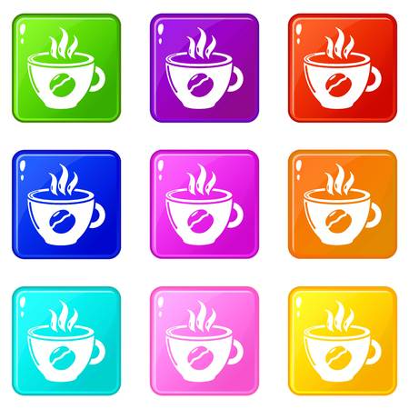Cup coffee icons set 9 color collection isolated on white for any design Иллюстрация