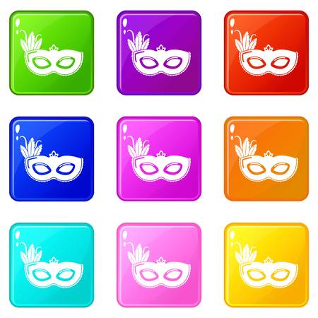 Carnival mask icons set 9 color collection isolated on white for any design Иллюстрация