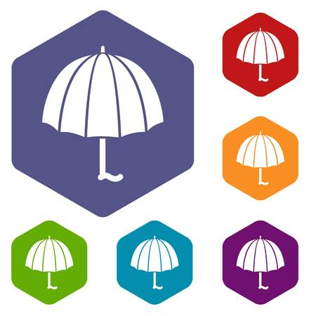 Fashion umbrella icons vector hexahedron Illustration