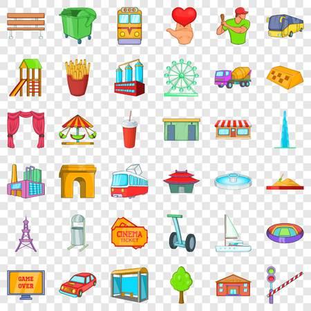 Main city icons set, cartoon style