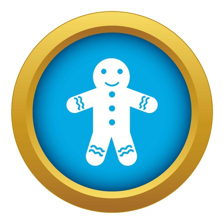 Gingerbread man icon blue vector isolated on white background for any design Illustration