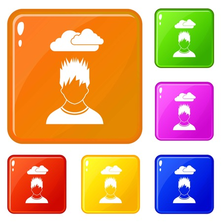 Depressed man with dark cloud over his head icons set collection vector 6 color isolated on white background