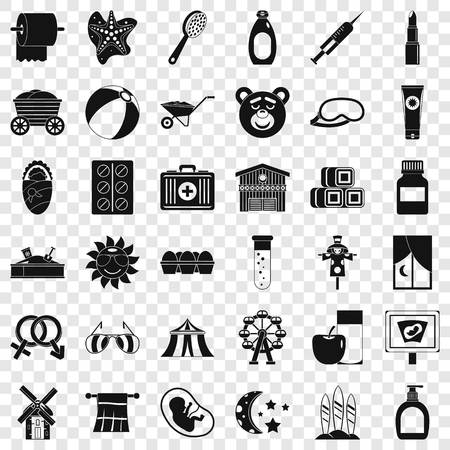 Health icons set, simple style Illustration