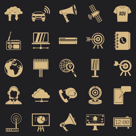 Telecasting icons set, simple style