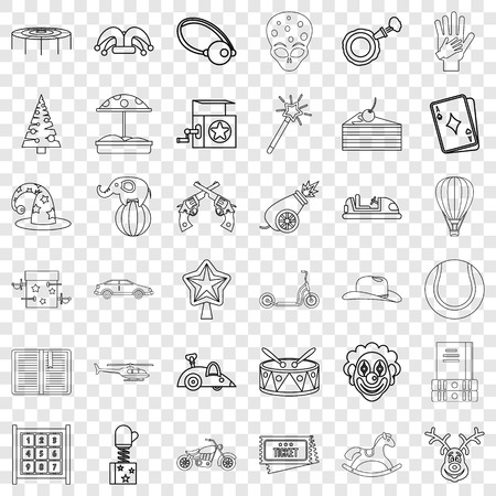 Smiling icons set, outline style