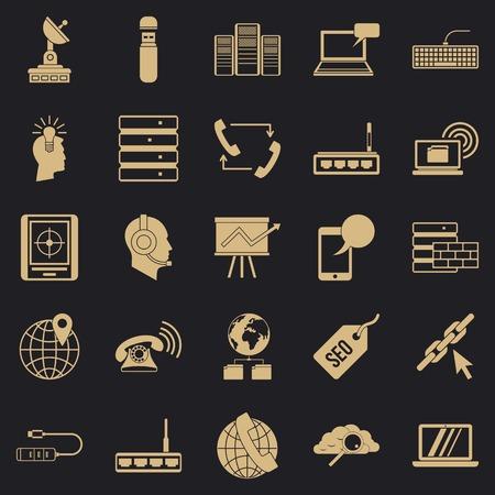 Telecommunication icons set, simple style