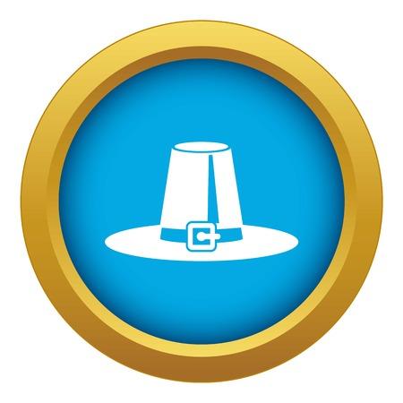 Pilgrim hat icon blue vector isolated