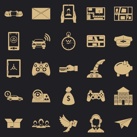 Phone call icons set, simple style Illustration
