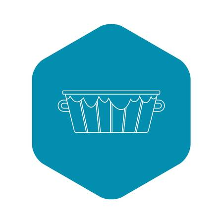 Wooden bucket icon. Outline illustration of wooden bucket vector icon for web
