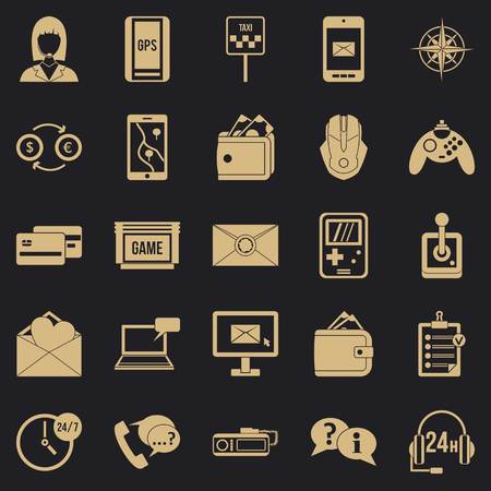 General information icons set, simple style Illustration