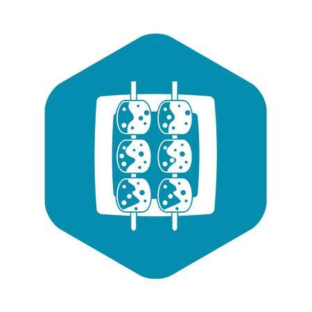 Meat shashlik icon, simple style