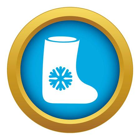 Felt boots icon blue vector isolated on white background for any design
