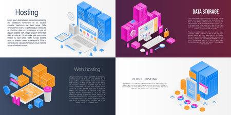 Hosting banner set. Isometric set of hosting vector banner for web design