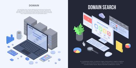 Domain banner set, isometric style