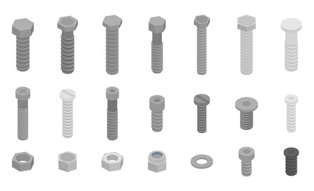 Screw-bolt icons set, isometric style Çizim