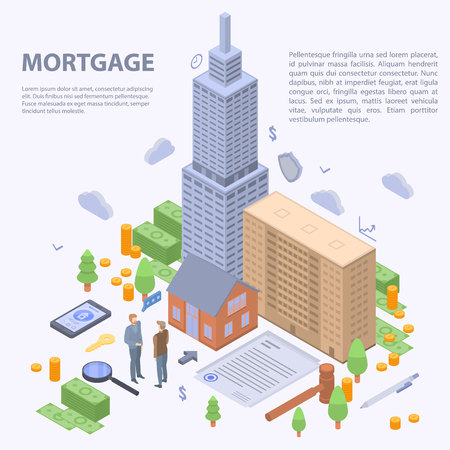 Mortgage building concept background, isometric style