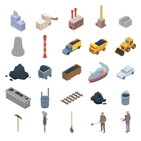 Coal industry icons set. Isometric set of coal industry vector icons for web design isolated on white background