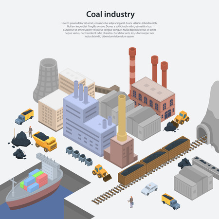 Coal industry plant concept background. Isometric illustration of coal industry plant vector concept background for web design