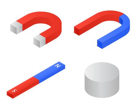 Magnete set di icone, stile isometrico