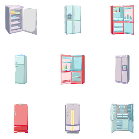 Freezer icons set. Cartoon set of freezer vector icons for web design