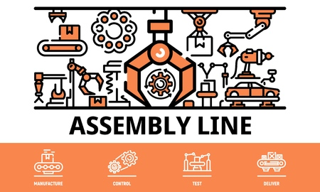 Assembly line banner. Outline illustration of assembly line vector banner for web design