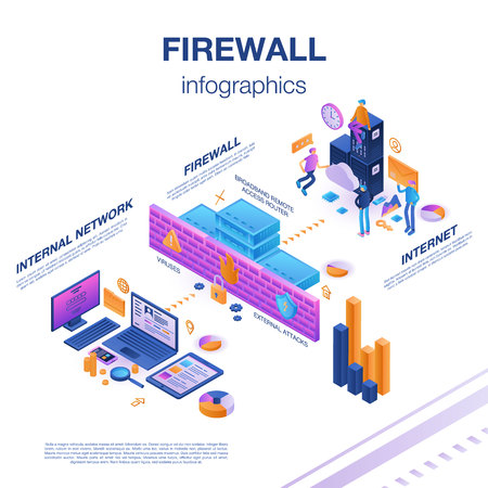 Firewall server infographic, isometric style Vector Illustration
