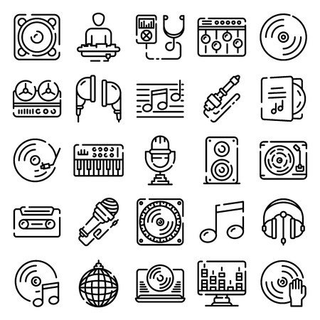 Dj icons set. Outline set of dj vector icons for web design isolated on white background