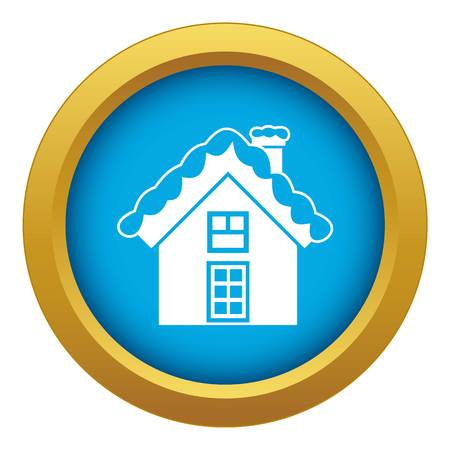 Small snowy cottage icon blue vector isolated 矢量图像
