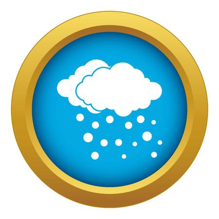 Cloud and snow icon blue vector isolated on white background for any design