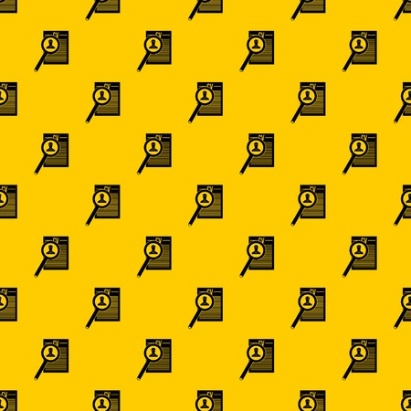 Magnifying glass over curriculum vita pattern seamless vector repeat geometric yellow for any design Illustration