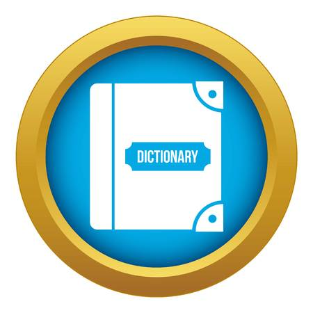 English dictionary icon blue vector isolated on white background for any design