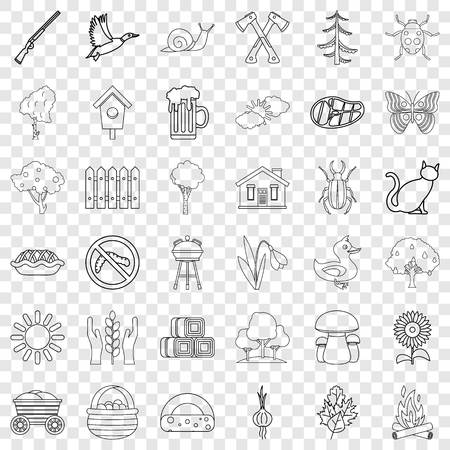 Village icons set. Outline style of 36 village vector icons for web for any design